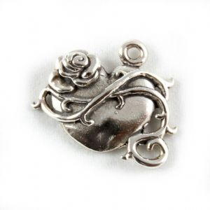 Charm School UK > Sterling Silver Charms > Love And Romance > Heart And Rose